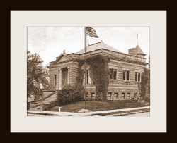 The city library, first opened in 1897, occupied the Carnegie financed structure from 1905 until 1976, when it relocated to its present location on North Main Street.
